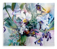Tropical White Orchids Fleece Blanket