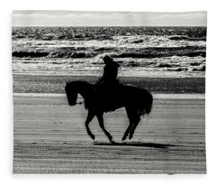 Trotting The Beach Fleece Blanket