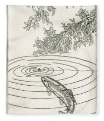 Trout Rising To Dry Fly Fleece Blanket