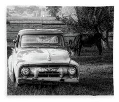 Truck And Cows Living Together Bw Fleece Blanket