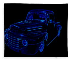 Truck Art Neon Blue Fleece Blanket