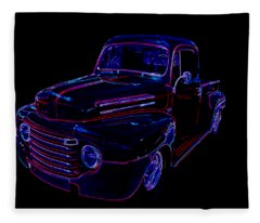 Truck Art Neons Red Fleece Blanket