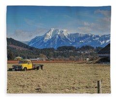 Truck In Harison Mills Fleece Blanket