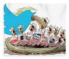 Trump Twitter And Tv News Fleece Blanket