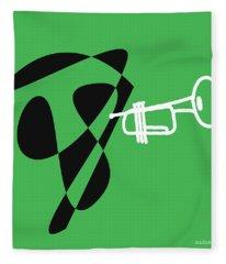 Trumpet In Green Fleece Blanket