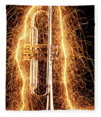 Trumpet Outlined With Sparks Fleece Blanket