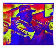 Trumpet Player Pop-art Fleece Blanket