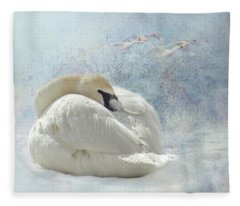 Trumpeter Textures #1 - Swan Feather Fleece Blanket