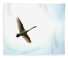Trumpeter Swan In Flight Fleece Blanket