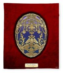 Tsarevich Faberge Egg On Red Velvet Fleece Blanket