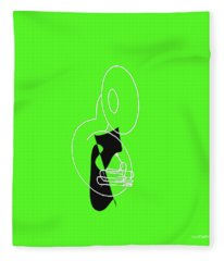 Tuba In Green Fleece Blanket