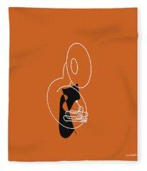 Tuba In Orange Fleece Blanket