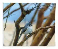 Tufted Titmouse In Tree Fleece Blanket