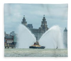 Tug Boat Fountain Fleece Blanket
