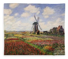 Tulip Fields With The Rijnsburg Windmill Fleece Blanket
