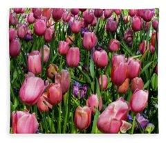 Tulip Flowers  Fleece Blanket