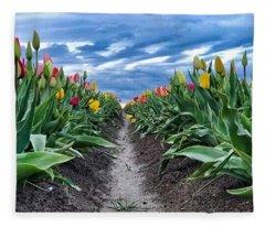 Tulip Rows Fleece Blanket