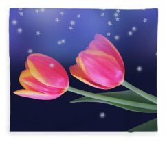 Tulips And Stars Fleece Blanket