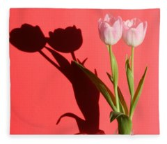 Tulips Casting Shadows Fleece Blanket