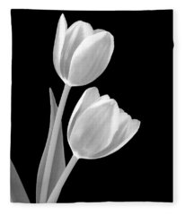 Tulips In Black And White Fleece Blanket