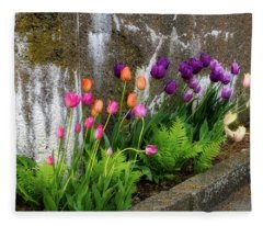 Tulips In Ruin Fleece Blanket