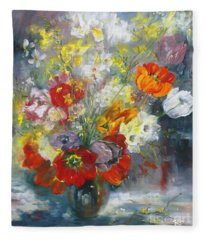 Tulips, Narcissus And Forsythia Fleece Blanket
