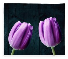 Tulips On Wood Fleece Blanket