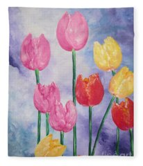 Ten  Simple  Tulips  Pink Red Yellow                                Flying Lamb Productions   Fleece Blanket