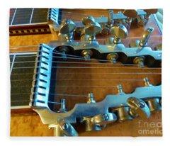 Tuning Pegs On Sho-bud Pedal Steel Guitar Fleece Blanket