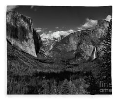Tunnel View Black And White  Fleece Blanket