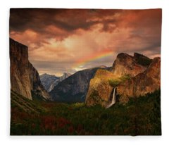 Tunnel View Rainbow Fleece Blanket