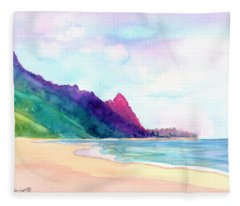 Tunnels Beach 4 Fleece Blanket