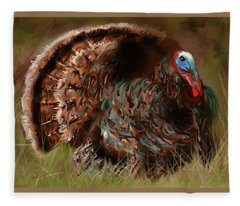 Turkey In The Straw Fleece Blanket