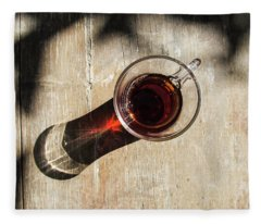 Turkish Tea On A Wooden Table Fleece Blanket