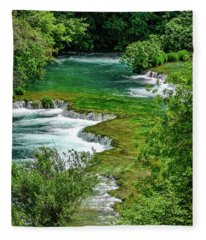 Turqouise Waterfalls Of Skradinski Buk At Krka National Park In Croatia Fleece Blanket