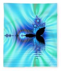 Turquoise Lake Fractal Fleece Blanket