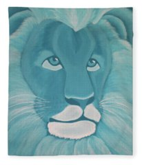 Turquoise Lion Fleece Blanket