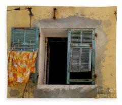 Turquoise Shuttered Window Fleece Blanket