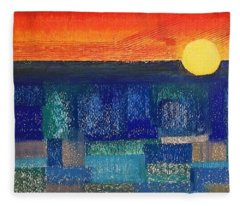 Turquoise Sunset Fleece Blanket