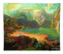 Turquoise Tranquility Meditation Fleece Blanket