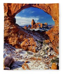 Turret Arch Through North Window Arches National Park Utah Fleece Blanket