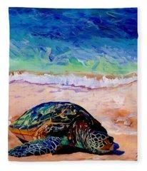 Turtle At Poipu Beach 9 Fleece Blanket