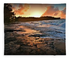 Turtle Bay Sunset 1 Fleece Blanket