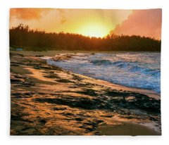 Turtle Bay Sunset 2 Fleece Blanket