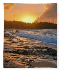 Turtle Bay Sunset 3 Fleece Blanket