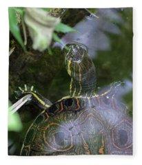 Turtle Getting Some Air Fleece Blanket