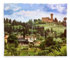 Tuscan Fields And Old Castle In Florence Fleece Blanket