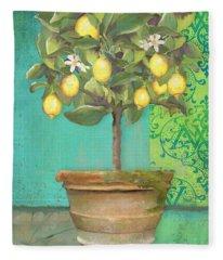 Tuscan Lemon Topiary - Damask Pattern 1 Fleece Blanket