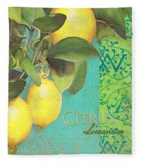 Tuscan Lemon Tree - Citrus Limonum Damask Fleece Blanket