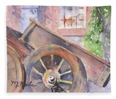 Tuscan Ox Cart Fleece Blanket